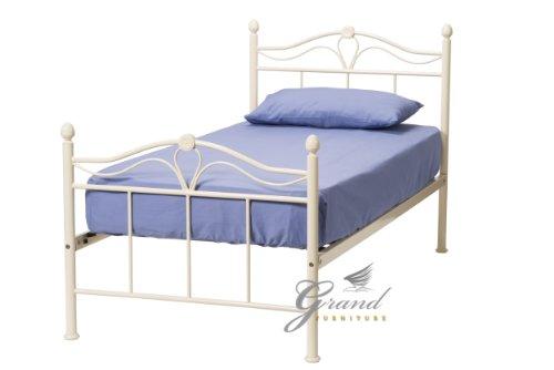 ROYALE COMFORT Exklusive Apollo Französischer Stil Creme Doppelbett-Rahmen, Metall Single King Size Bettgestell Schlafzimmer-Möbel (Single)