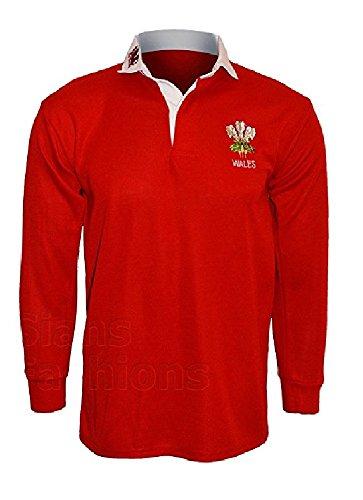 Active Wear Herren Poloshirt / Rugbyshirt, langärmelig, Wales-Logo, Gr.: S, M, L, XL, XXL, 3XL, 4XL, 5XL