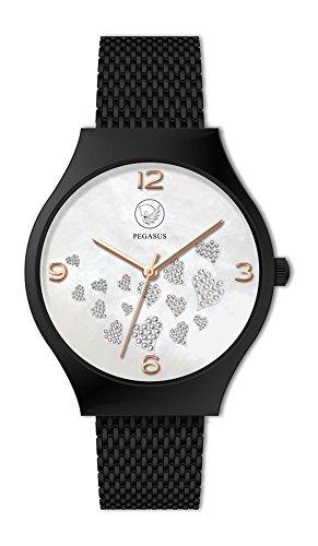 Energetix-4you Unisex Magnetschmuck Uhr analog Automatik Schwarz mit Edelstahl Armband 2522