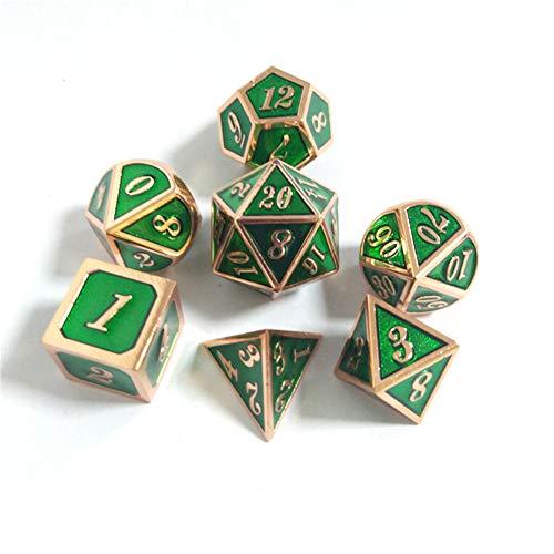 Sunnay 7 Stück Metall Würfel DND Polyhedral Solid Metall D&D Würfel Nickel Set mit Zahlen,Einsteigerset A14 Stil - 7 Stück Metall