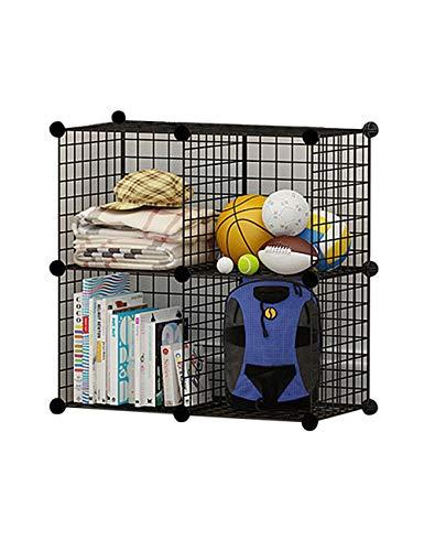 besbomig 4 Cubos Armario Modular de Malla de Hierro Estantería por módulos Armario de Almacenaje Estantería,Estanterías de Cubos,Negro,Montaje en Bricolaje