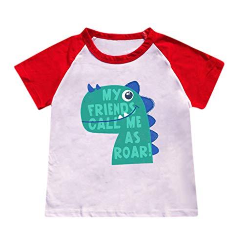Yanhoo-Kinder Bad Boy Cartoon Heiße Art Dinosaurier Muster T-Shirt Hemd für Kinder Tops Kurzarm-Dinosaurier-Buchstabe für Kinder Fearless Print Stitching T-Shirt