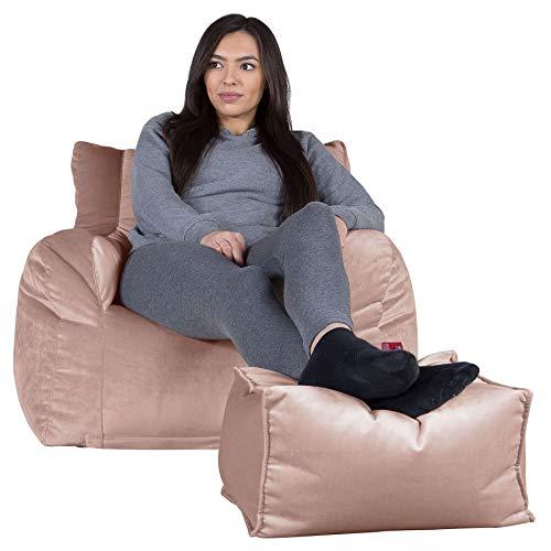 Lounge Pug®, Sitzsack Ohrensessel mit Hocker, Samt Pink