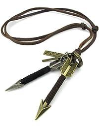 KONOV Schmuck Herren Damen Halskette, Verstellbaren Größen Amors Pfeil Kreuz Legierung Anhänger mit Leder Echtleder Kette, Braun Gold