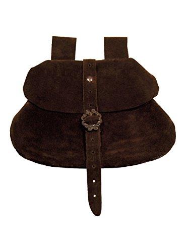 Mittelalter Gürtel-Tasche aus Leder - dunkelbraun (Wikinger-münze)