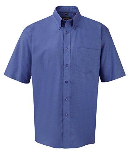 Kurzärmeliges Oxford-Hemd für Herren von Russell Collection, pflegeleicht Gr. 50 cm, Blau - Aztec Blue - Baumwolle Popeline Gingham Shirt