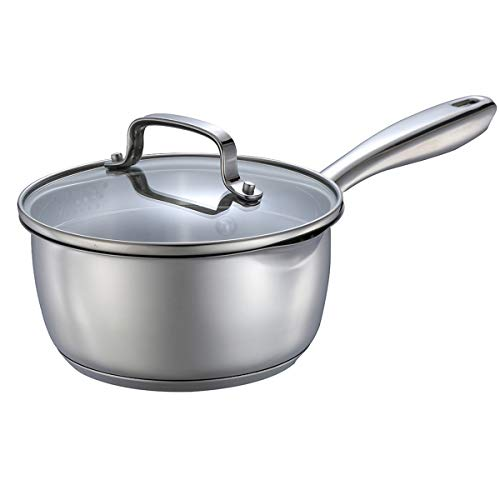 Momscook 1.5-Quart Stainless Steel Saucepan with Glass Lid, Strainer Lid Cookware - Dishwasher/Oven Safe