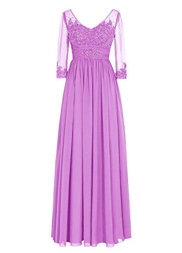 Dresstells, robe longue de mère de mariée, robe de soirée formelle manches 3/4, robe de demoiselle d'honneur Lilas