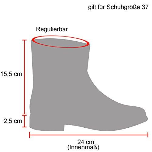 Damen Schuhe Schnürstiefeletten Leder-Optik Stiefeletten Worker Boots 124802 Silber 40 Flandell