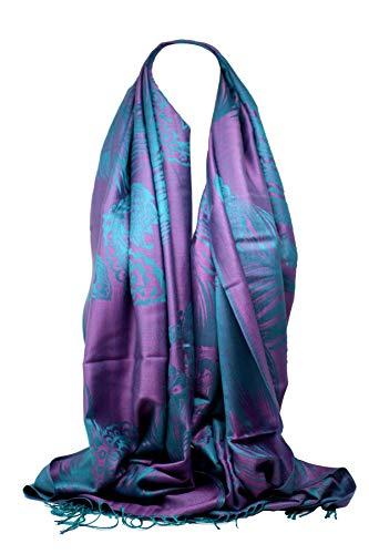 Bullahshah Pluma de pavo real de calidad y estampado paisley pashmina sentir bufanda abrigo bufandas bufandas para mujeres/niñas (Lila/Azul)