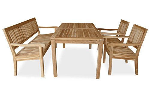 KMH, 4-teilige Teak Sitzgruppe 'LEA' mit 180 cm langem Tisch für 6 Personen (#102214)