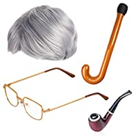 Beefunny Old Man Fancy Dress Accessory Set Grandpa Costume Accessories Inflatable Cane Glasses Pipe Old Man Wigs Party (A)