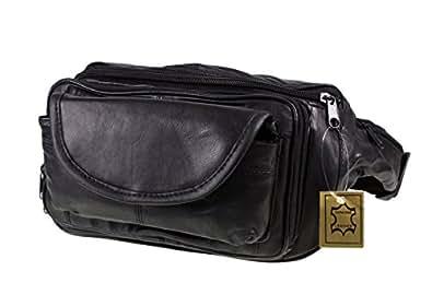 New black soft leather large size bum bag money wallet for Maison classique emporium