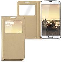 kwmobile Funda potectora práctica y chic con tapicería de cuero sintético FLIP COVER para Samsung Galaxy S5 / S5 Neo / S5 LTE+ / S5 Duos en oro
