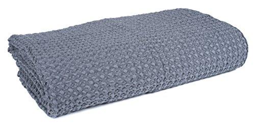Harmony - Couvre lit dessus de lit en coton lavé Tempo - 100% coton lavé nid d'abeille 180x240 cm - Gris Granit