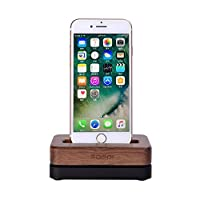 SAMDI For iPhone Charging Dock and stand, Wood Phone Charging Station Desktop Holder with Aluminum Base for iPhone 5/5s/ 6/6s/Plus 7/7plus and other Cell Phone - Walnut + Black