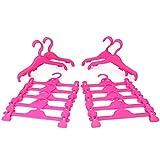 HANGERWORLD Set 30 Grucce per Bambini 30cm in Plastica Rosa per Vestiti e Pinze per Gonne e Pantaloni
