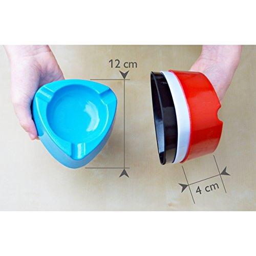 Aschenbecher Ascher aus Kunststoff – Farbe: Hellblau – Durchmesser 12,0 cm – einfach – cool – günstig 5 Stück - 3