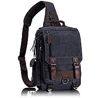 Leaper Canvas Messenger Bag Sling Bag Cross Body Bag Shoulder Bag Black, L