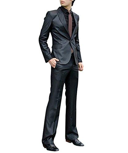 Men's One Button 2-Piece Set Wedding Dress Slim Fit Style Suit Blazer Classical Jacket for Costumes Formal Blightblack