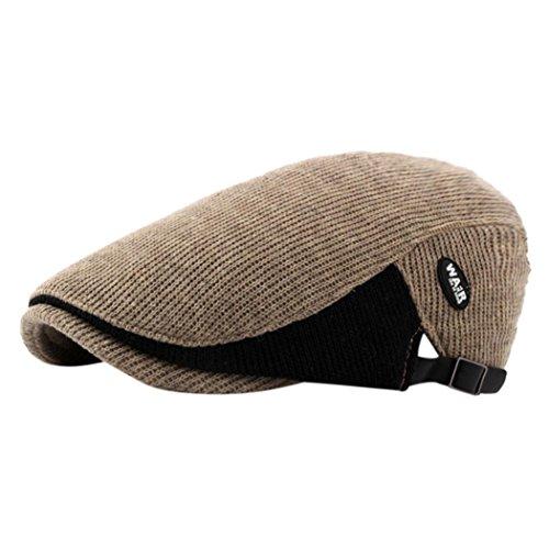 Xshuai Lässige Männer Entenschnabel Ivy Cap Golf Fahren Flache Dicke Warme Cabbie Zeitungsjunge Beret Hut (Khaki) (Neue Ära Golf-hut)