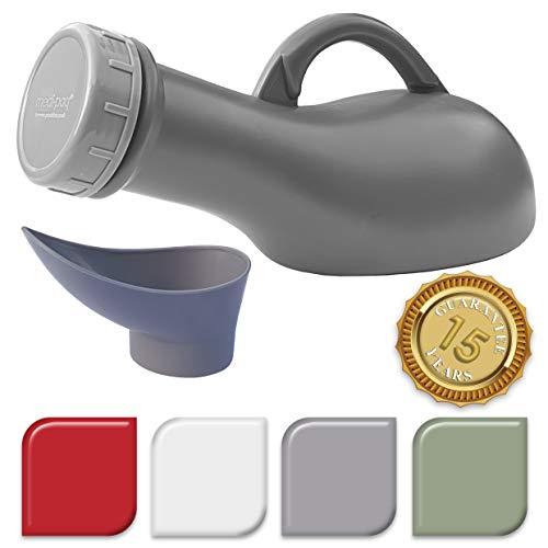 Medipaq® Unisex tragbares Urinal Auslaufsicher dicht - Ideal für Autoreisen, Camping, Wohnwagen, Festivals, Kinder, Ältere (1 Urinal silbergrau) - Neues 2019 Modell