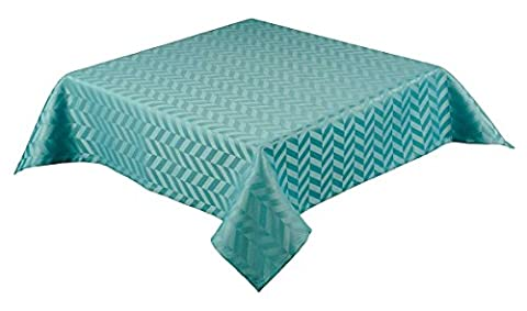 50 x 70 inch oblong (127 x 178cm) Polyester satin tablecloth with self coloured jaquard geo metric design. Machine washable and non-iron. Choice of 7 colour (Monte Carlo)s (TEAL
