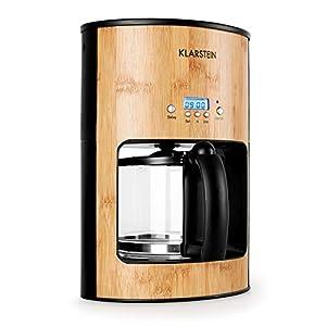 Klarstein Bamboo Garden • Kaffeemaschine • Kaffeeautomat • Coffee-Maker • 1080 Watt • 1,25 L • für 10-12 Tassen • Tropfschutz • Warmhalteplatte • Timer • Filterhalter herausnehmbar • Bambus • braun