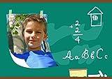 Einschulung Karten, Tafelkreide 5 Karten, Horizontale Klappkarte 148x105 inkl. weiße Umschläge, Grün -