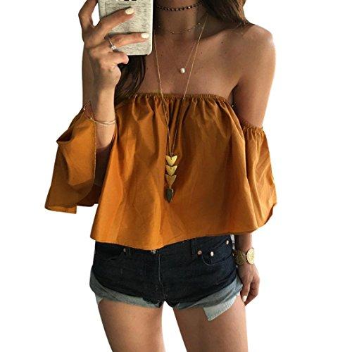 QUINTRA Frauen-Sommer-weg von der Schulter-Oberseite beiläufiges Blusen-T-Shirt (S, Gelb) (Bluse Bauer Schulter)
