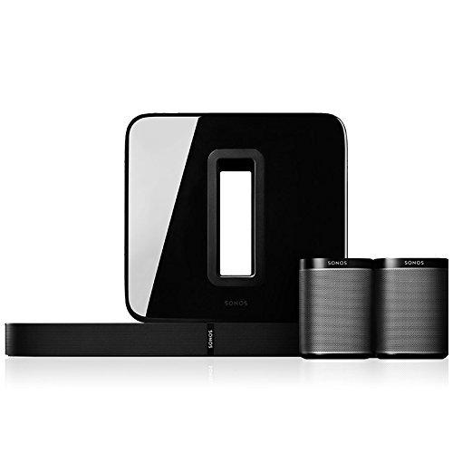 Sonos 5.1 Heimkino Set, System mit einer Playbase, einem SUB und einem Paar PLAY:1 (Schwarz)