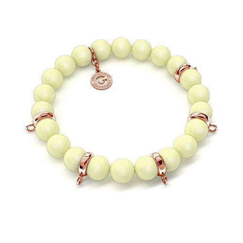 GIORRE € Nouveau Bracelet Élastique Perles (swarovski Pearl) Pour 5 Charms € Fine Argent Sterling 925 Obwód : ~18,0 cm (dodatkowe 2 perly)   PERLE : SWAROVSKI PASTEL YELLOW   ARGENT : Plaque ave
