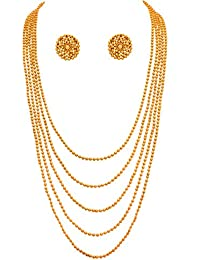 JFL - Traditional Ethnic One Gram Gold Plated Bead Designer Long Necklace Set With Earrings For Women & Girls.