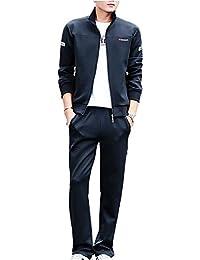 Hombre Mujer Chándal 2 Piezas Conjuntos Traje Deportivo Manga Larga  Sweatshirt + Pantalones Mnegro 5XL e7bf0e868fa7