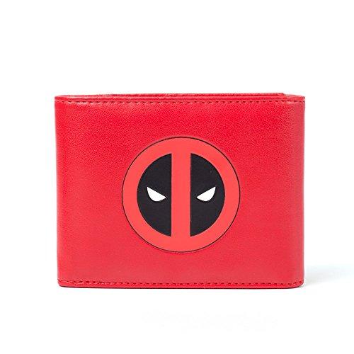 Red Tri-fold Wallet (Bioworld Marvel Comics Deadpool Face Tri-fold Wallet, Red/Black (MW261704DEA) Münzbörse, 17 cm, Rot (Red))