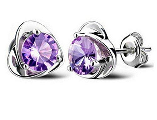 Da donna zircone orecchini placcato platino moda cuore orecchini gioielli da sposa