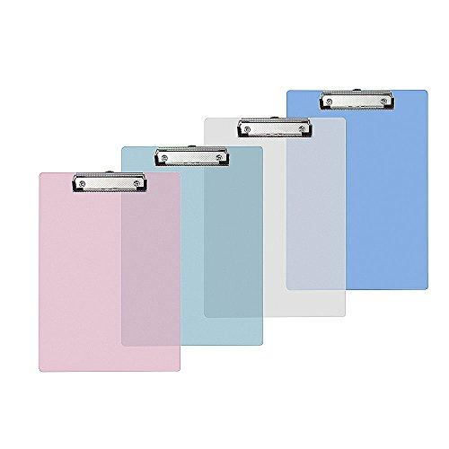 Vordas 4 Stück Klemmbrett A4 mit Metallklemme, Ideal für die Tägliche Arbeit, 4 Farben, 315 * 225MM - Zwischenablage 3x5
