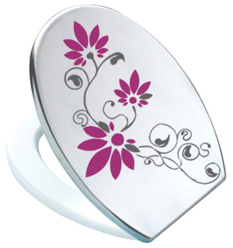 Grafix-Adhesivo decorativo para tapa de inodoro (Pressalit Antracita/burdeos rojo vinilo