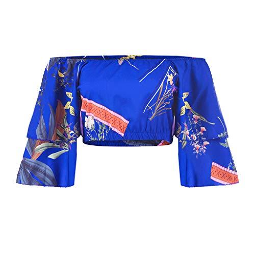 was für EIN süßes Crop Top für Mädchen - Frauen Sexy Off Shoulder Ruffle Floral Halbarm Shirt Pullover Bluse (Shorts Mädchen Chambray)