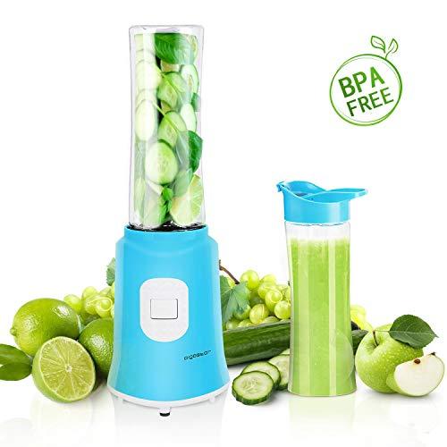 Aigostar Sky 30IWX - Batidora de vaso portátil para smoothies, batidos y picadora de frutas. 350W, Incluye 2 vasos portátiles de Tritan de 600ml de capacidad y 2 tapas. Libre de BPA. Diseño exclusivo.