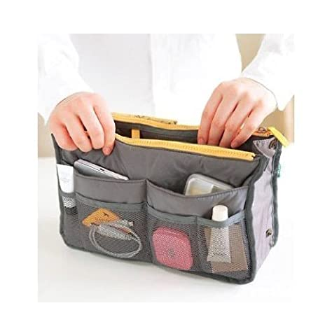 Holiberty Fashion High Quality Women Ladies Travel Insert Pockets Handbag Comestic Organiser Gadget Portable Expandable Tidy Pouch Purse Double Zipper Nylon Toiletry Makeup Bag Cases - Grey by Baixt Group Limited