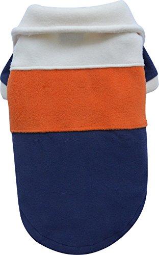 Doggy Dolly W003 Fleece Pullover für Hunde dreifarbig, blau/orange/weiß, Größe : S
