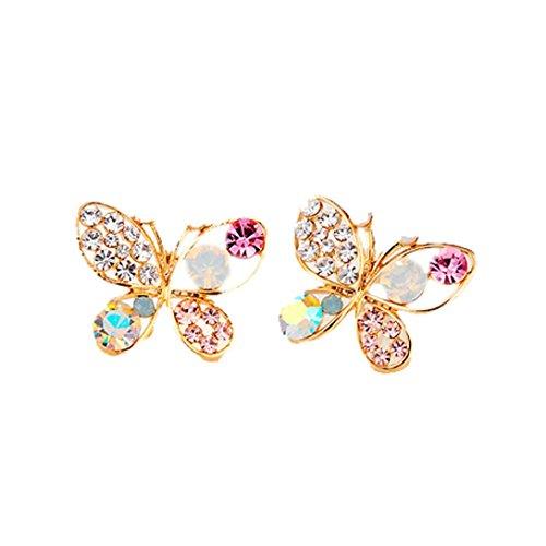(DAY.LIN Damen Ohrringe Schmuck Ohrstecker stecker Hohler Luxus Hell Bunt Crystal Simulierte Perle Schmetterling Ohrringe)