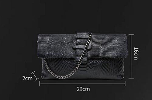 Home Monopoly Borse da donna borsa borsa da donna Borse da donna retrò catena di cinghie di spalla / con cinghia di spalla ( Colore : Silver ) Nero