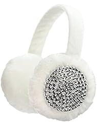 Cache-oreilles à couleur unie en fausse fourrure, accentués de pierres de Strass