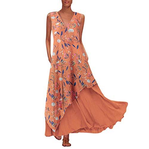 XZDCDJ Plus Size Damen Vintage O Neck Spleißen Floral Bedruckte Kurzarm Maxi-Kleid(L,Orange) -
