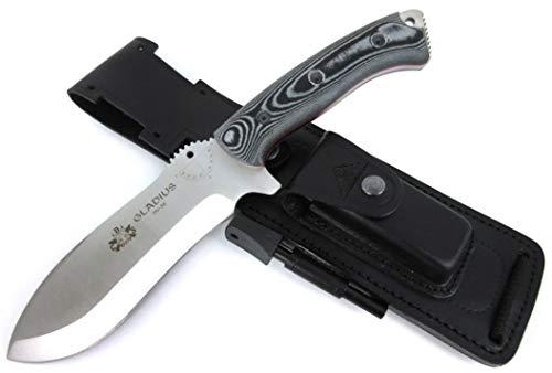 GLADIUS-BLACK Premium Qualität - professionell Überlebensmesser, Gürtelmesser, Outdoor/Survival Messer, Jagdmesser, Stahl MOVA-58, Lederscheide + Feuerstahl + Messer schärfer. Entworfen und Hergestellt in Spanien.