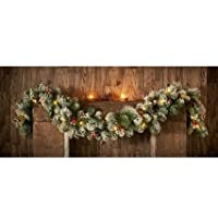 Large Elegant Xmas Decor Pre-Lit 6ft Snowy Garland with Cones & Berries Christmas Decoration