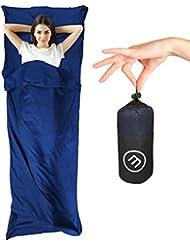Saco de dormir de verano de microfibra + funda para la almohada – Sábanas interiores ultraligeros