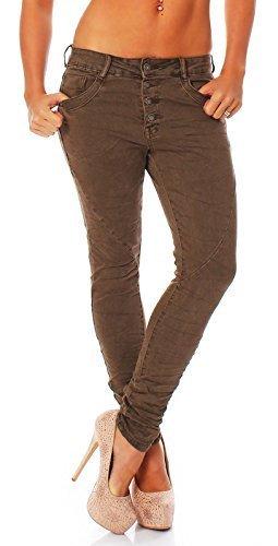 Jeans Donna Pantalone A Sigaretta Ragazzo Larghi Bottoni 616 - Cachi, M